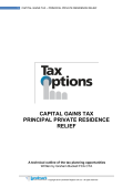 Capital Gains Tax - Principal Private Residence Relief